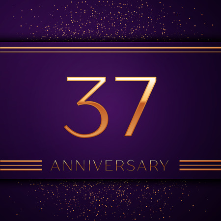 Realistic Thirty seven Years Anniversary Celebration design banner. Golden number and confetti on purple background. Colorful Vector template elements for your birthday party