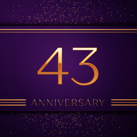 Realistic Forty three Years Anniversary Celebration design banner. Golden number and confetti on purple background. Colorful Vector template elements for your birthday party Illustration