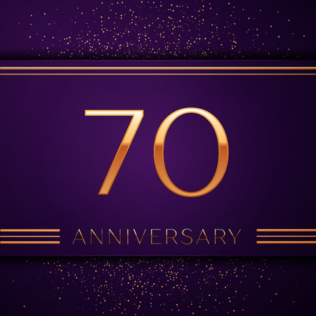 Realistic Seventy Years Anniversary Celebration design banner. Golden number and confetti on purple background. Colorful Vector template elements for your birthday party