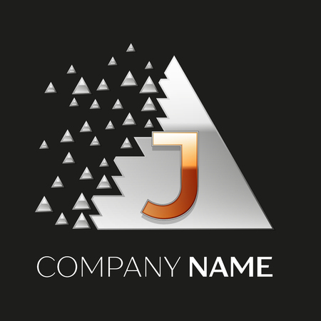 Realistic Golden Letter J logo symbol in the silver colorful pixel triangle shape with shattered blocks on black background. Vector template for your design