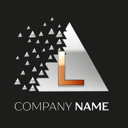 Realistic Golden Letter L logo symbol in the silver colorful pixel triangle shape with shattered blocks on black background. Vector template for your design