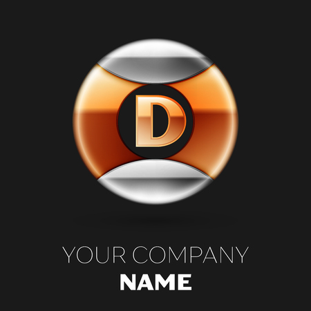 Realistic Golden Letter D Logo Symbol In The Silver Colorful Circle Shape On Black