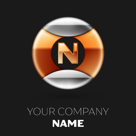 Realistic Golden Letter N logo symbol in the silver-golden colorful circle shape on black background. Vector template for your design