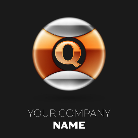 Realistic Golden Letter Q logo symbol in the silver-golden colorful circle shape on black background. Vector template for your design