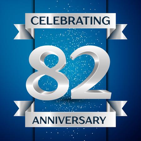 Bannière de conception de célébration anniversaire anniversaire réaliste. Numéro d'argent, confettis et ruban sur fond bleu. Éléments de modèle vectoriel coloré pour votre fête d'anniversaire