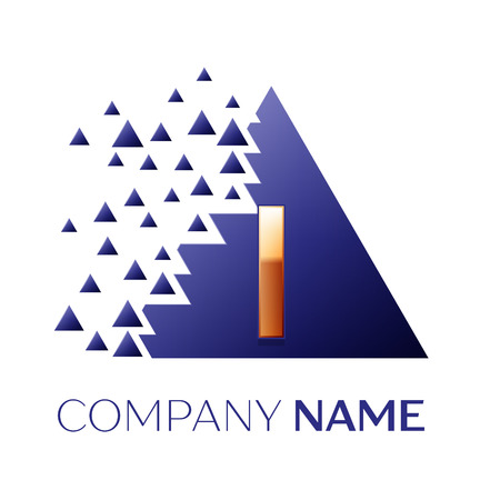 Realistic Golden Letter I logo symbol in the blue colorful pixel triangle shape with shattered blocks on black background. Vector template for your design