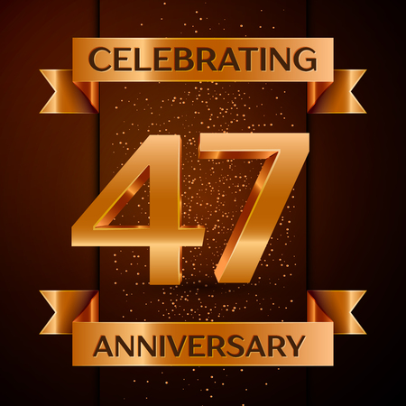 Realistic Forty seven Years Anniversary Celebration design banner. Golden number, confetti and ribbon on brown background. Colorful Vector template elements for your birthday party