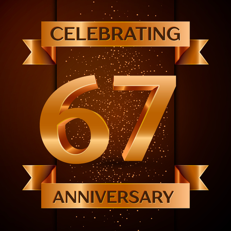 Realistic Sixty seven Years Anniversary Celebration design banner. Golden number, confetti and ribbon on brown background. Colorful Vector template elements for your birthday party