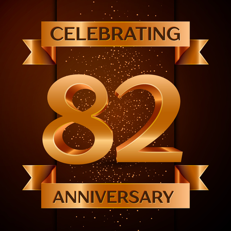 Realistic Eighty two Years Anniversary Celebration design banner. Golden number, confetti and ribbon on brown background. Colorful Vector template elements for your birthday party