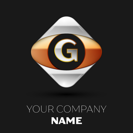Realistic Silver Letter G logo symbol in the colorful golden-silver square shape on black background. Vector template for your design Illusztráció