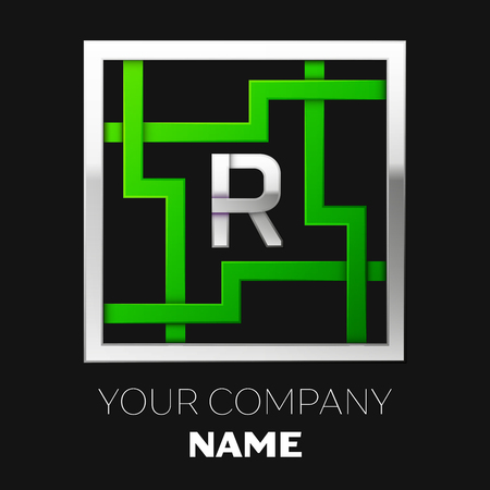 Realistic Silver Letter R logo symbol in the silver-green colorful square maze shape on black background. The logo symbolizes labyrinth, choice of right path. Vector template for your design
