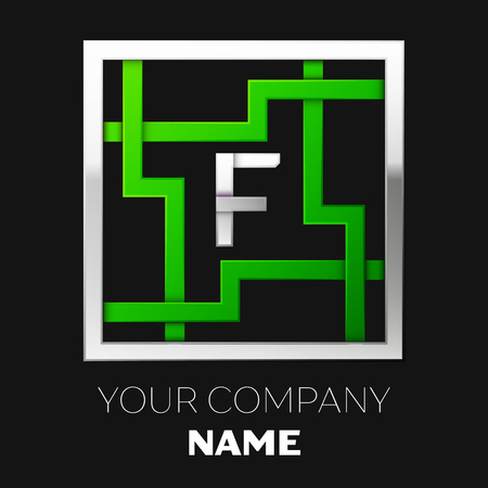 Realistic Silver Letter F logo symbol in the silver-green colorful square maze shape on black background. The logo symbolizes labyrinth, choice of right path. Vector template for your design