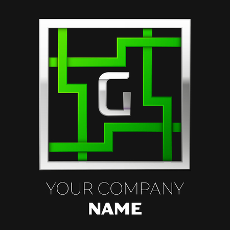 Realistic Silver Letter G logo symbol in the silver-green colorful square maze shape on black background. The logo symbolizes labyrinth, choice of right path. Vector template for your design