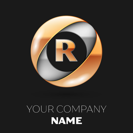 Realistic Golden Letter R logo symbol in the silver-golden colorful circle shape on black background. Vector template for your design