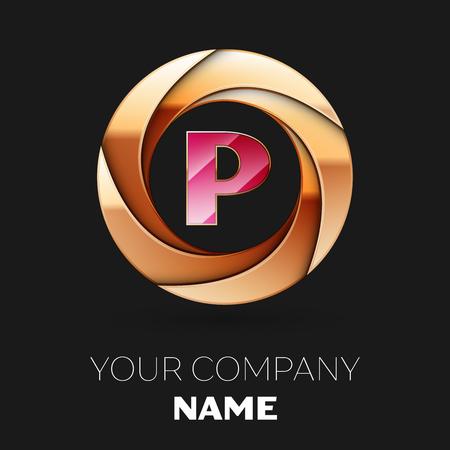 Realistic Pink Letter P logo symbol in the golden colorful circle shape on black background. Vector template for your design Ilustração