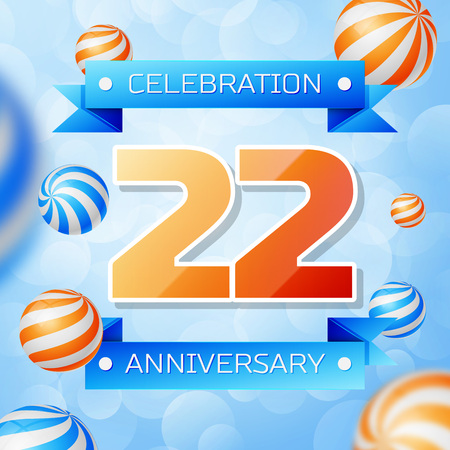 Realistic Twenty two Years Anniversary Celebration design banner. Gold numbers and blue ribbons, balloons on blue background. Colorful Vector template elements for your birthday party