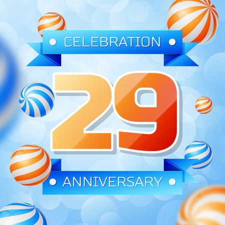 Realistic Twenty nine Years Anniversary Celebration design banner. Gold numbers and blue ribbons, balloons on blue background. Colorful Vector template elements for your birthday party Illusztráció