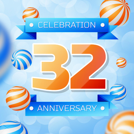 Realistic Thirty two Years Anniversary Celebration design banner. Gold numbers and blue ribbons, balloons on blue background. Colorful Vector template elements for your birthday party Illusztráció