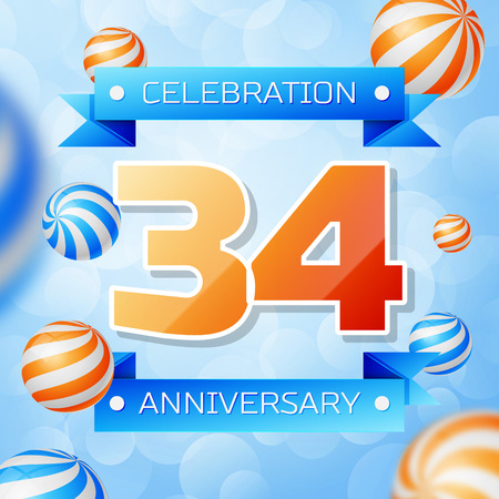 Realistic Thirty four Years Anniversary Celebration design banner. Gold numbers and blue ribbons, balloons on blue background. Colorful Vector template elements for your birthday party