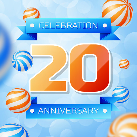 Realistic Twenty Years Anniversary Celebration design banner. Gold numbers and blue ribbons, balloons on blue background. Colorful Vector template elements for your birthday party