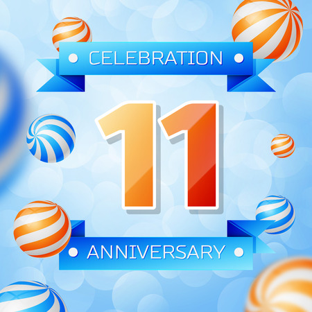 Realistic Eleven Years Anniversary Celebration design banner. Gold numbers and blue ribbons, balloons on blue background. Colorful Vector template elements for your birthday party Illusztráció