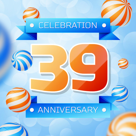 Realistic Thirty nine Years Anniversary Celebration design banner. Gold numbers and blue ribbons, balloons on blue background. Colorful Vector template elements for your birthday party Illusztráció