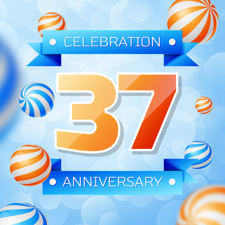 Realistic Thirty seven Years Anniversary Celebration design banner. Gold numbers and blue ribbons, balloons on blue background. Colorful Vector template elements for your birthday party