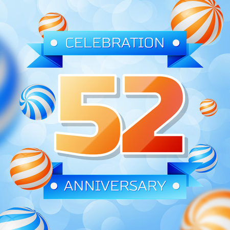 Realistic Fifty two Years Anniversary Celebration design banner. Gold numbers and blue ribbons, balloons on blue background. Colorful Vector template elements for your birthday party Illusztráció