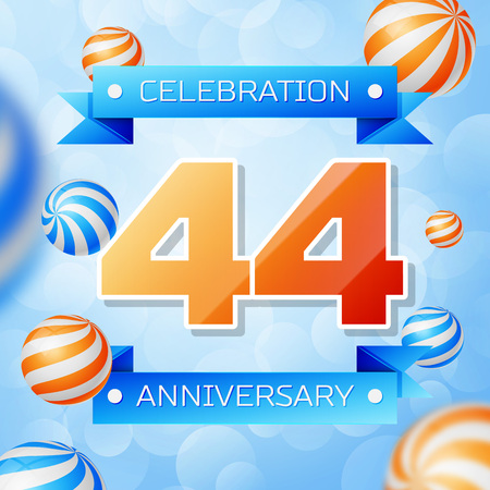 Realistic Forty four Years Anniversary Celebration design banner. Gold numbers and blue ribbons, balloons on blue background. Colorful Vector template elements for your birthday party