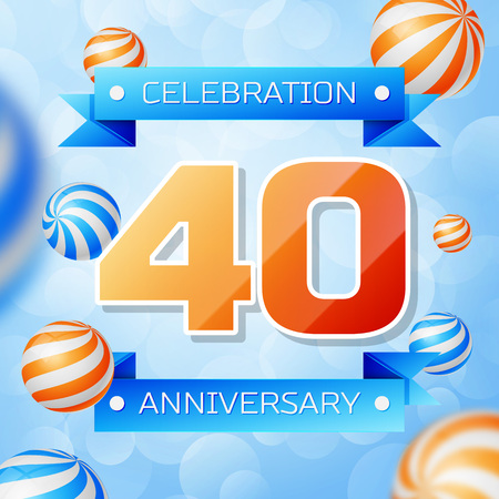 Realistic Forty Years Anniversary Celebration design banner. Gold numbers and blue ribbons, balloons on blue background. Colorful Vector template elements for your birthday party