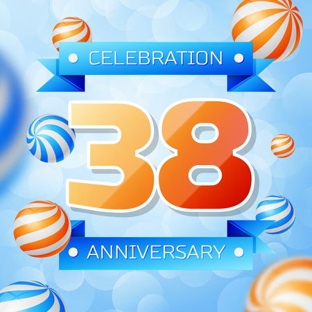 Realistic Thirty eight Years Anniversary Celebration design banner. Gold numbers and blue ribbons, balloons on blue background. Colorful Vector template elements for your birthday party
