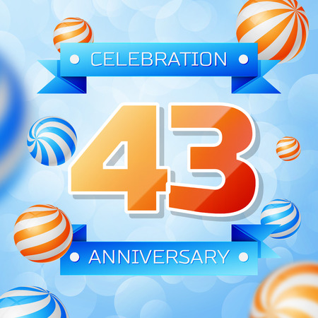 Realistic Forty three Years Anniversary Celebration design banner. Gold numbers and blue ribbons, balloons on blue background. Colorful Vector template elements for your birthday party