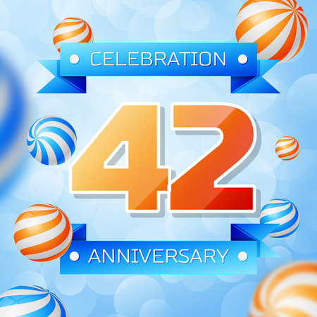 Realistic Forty two Years Anniversary Celebration design banner. Gold numbers and blue ribbons, balloons on blue background. Colorful Vector template elements for your birthday party