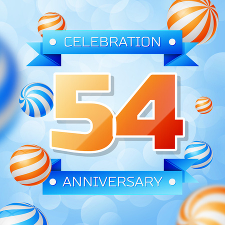 Realistic Fifty four Years Anniversary Celebration design banner. Gold numbers and blue ribbons, balloons on blue background. Colorful Vector template elements for your birthday party Illusztráció