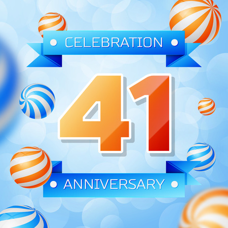 Realistic Forty one Years Anniversary Celebration design banner. Gold numbers and blue ribbons, balloons on blue background. Colorful Vector template elements for your birthday party