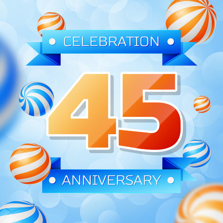 Realistic Forty five Years Anniversary Celebration design banner. Gold numbers and blue ribbons, balloons on blue background. Colorful Vector template elements for your birthday party Illusztráció