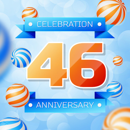 Realistic Forty six Years Anniversary Celebration design banner. Gold numbers and blue ribbons, balloons on blue background. Colorful Vector template elements for your birthday party Illusztráció