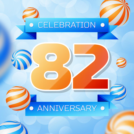 Realistic Eighty two Years Anniversary Celebration design banner. Gold numbers and blue ribbons, balloons on blue background. Colorful Vector template elements for your birthday party