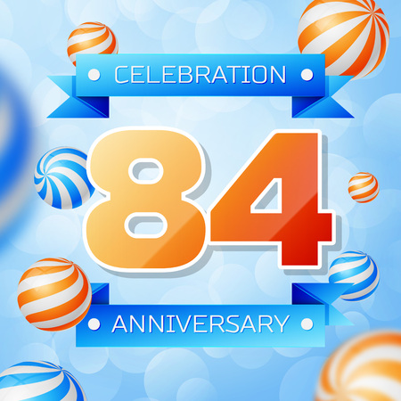 Realistic Eighty four Years Anniversary Celebration design banner. Gold numbers and blue ribbons, balloons on blue background. Colorful Vector template elements for your birthday party