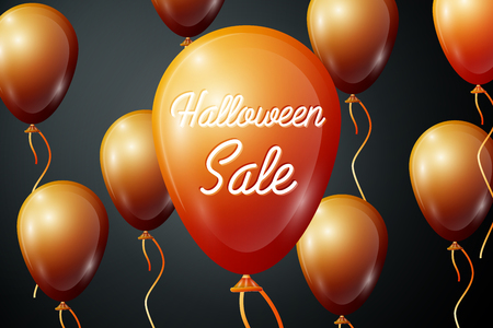Realistic Orange ballons with inscription Halloween Sale percent for discount on black background. Colorful sticker, banner for sale, shopping, business theme. Vector illustration