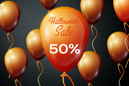 Realistic Orange ballons with inscription Halloween Sale Fifty percent for discount on black background. Colorful sticker, banner for sale, shopping, business theme. Vector illustration Illustration