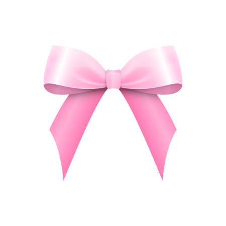 Realistic Shiny Pink Satin Bow isolated on white background. Vector illustration 矢量图像