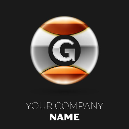 Realistic Silver Letter G logo symbol in the silver-golden colorful circle shape on black background. Vector template for your design