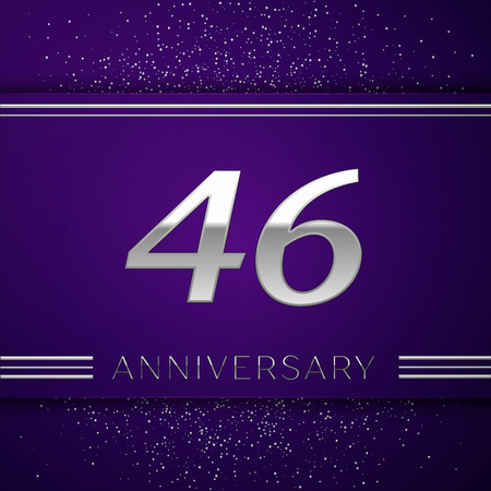 Realistic Forty six Years Anniversary Celebration design banner. Silver number and confetti on purple background. Colorful Vector template elements for your birthday party