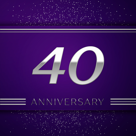 Realistic Forty Years Anniversary Celebration design banner. Silver number and confetti on purple background. Colorful Vector template elements for your birthday party