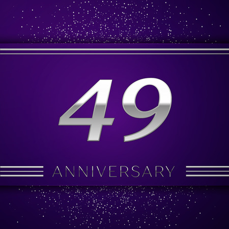 Realistic Forty nine Years Anniversary Celebration design banner. Silver number and confetti on purple background. Colorful Vector template elements for your birthday party