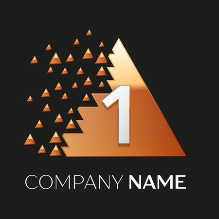 Realistic Silver Number One logo symbol in the golden colorful pixel triangle shape with shattered blocks on black background. Vector template for your design