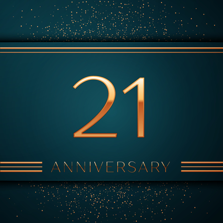 Realistic Twenty one Years Anniversary Celebration design banner. Golden number and confetti on green background. Colorful Vector template elements for your birthday party