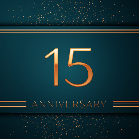Realistic Fifteen Years Anniversary Celebration design banner. Golden number and confetti on green background. Colorful Vector template elements for your birthday party