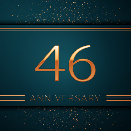 Realistic Forty six Years Anniversary Celebration design banner. Golden number and confetti on green background. Colorful Vector template elements for your birthday party